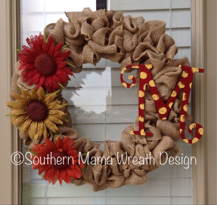 Fall burlap wreath by SouthernMamaWreaths on Etsy, $50.00