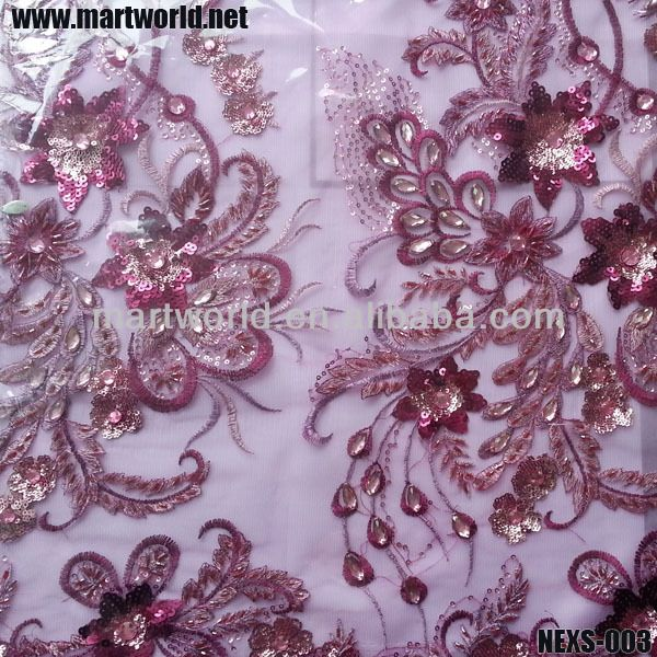 fashion french lace sequin embroidery fabric sequin embroidery design(NEXS-003) $0.1~$1