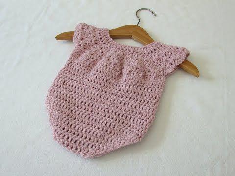 How to crochet a cute baby girl's romper / onesie - YouTube