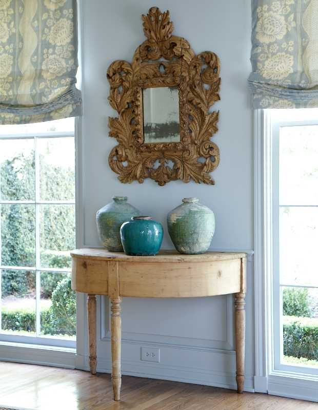 Roses and Rust: Monday Musings - Less is More: Dining Rooms, Design Inspiration, Mirror, Romans Shades, Carol Glasser, Interiors Design, Window Treatments, Spa Colors, Design Offices