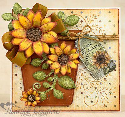 Heartfelt Creations | Sunflower Pot Of Blooms