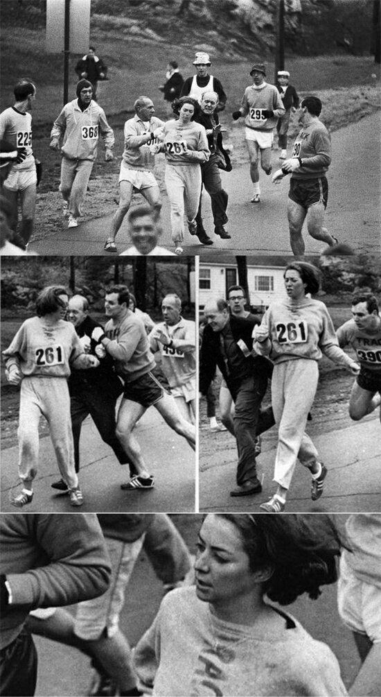 """Em 1967, Kathrine Switzerwas a primeira mulher a entrar e completar a Maratona de Boston como uma entrada numerada. Ela registrado com o nome de gênero neutro de """"KV Switzer """". Depois de perceber que uma mulher estava correndo, o organizador corrida Jock Semple foi atrás Switzer gritando: """"Saiam e me da esses números."""" No entanto, o namorado de Switzer e outros corredores masculinos desde um escudo protetor durante todo o Maratona."""