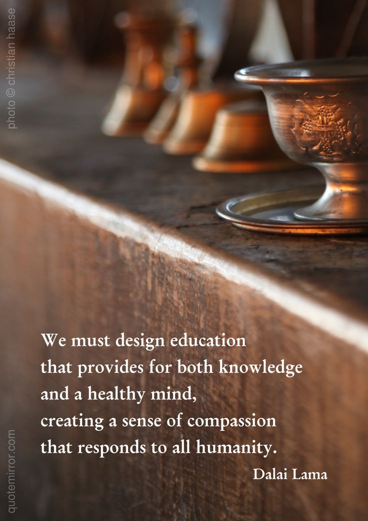 We must design education that provides for both knowledge  and a healthy mind, creating a sense of compassion that responds to all humanity. –14th Dalai Lama (Photo: Christian Haase - http://webmotive.net ) #compassion #health #knowledge #mind http://www.quotemirror.com/dalai-lama-collection-3/knowledge-and-healthy-mind/