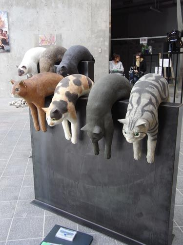 Cat sculptures