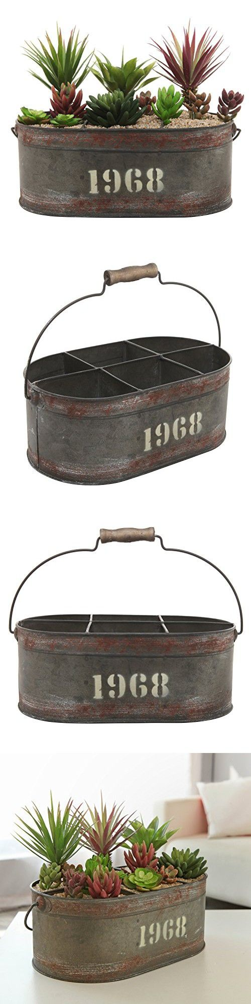 MyGift Industrial Metal Display Bucket, 6 Compartment Decorative Box, Gray