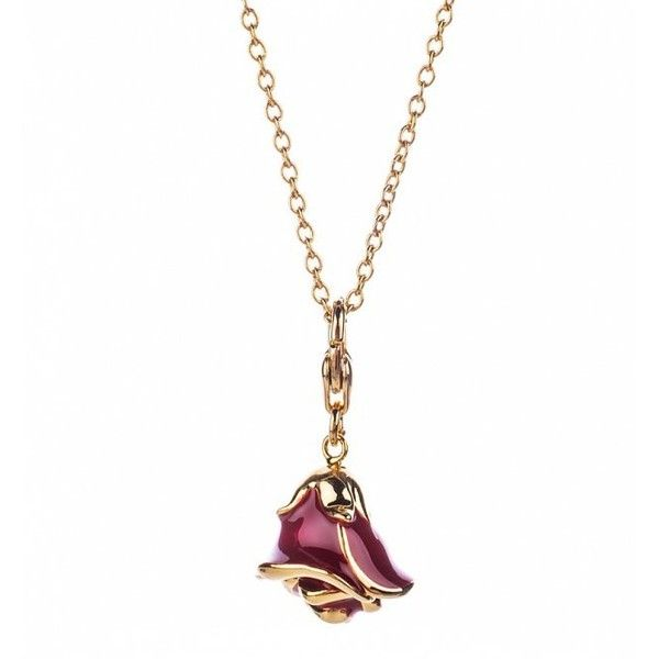 14Kt Gold Plated Beauty And The Beast Rose Charm And Necklace ($43) ❤ liked on Polyvore featuring jewelry, necklaces, charm chain necklace, rose jewellery, rose charm, charm jewelry and chunky charm necklace