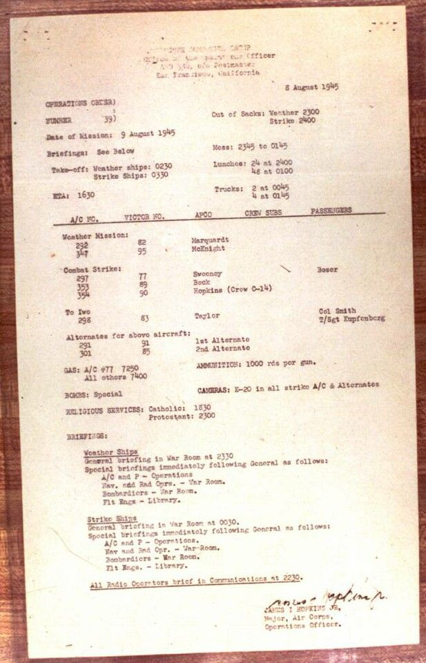 Strike order for the Nagasaki bombing, as posted on Tinian Island