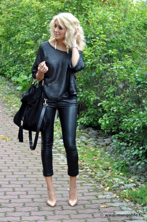 All black outfits Sweatshirt, leather pants and nude heels.