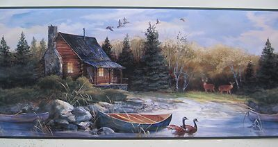 """CABIN in the WOODS FISHING HUNTING Wallpaper Border 10 1/4"""""""