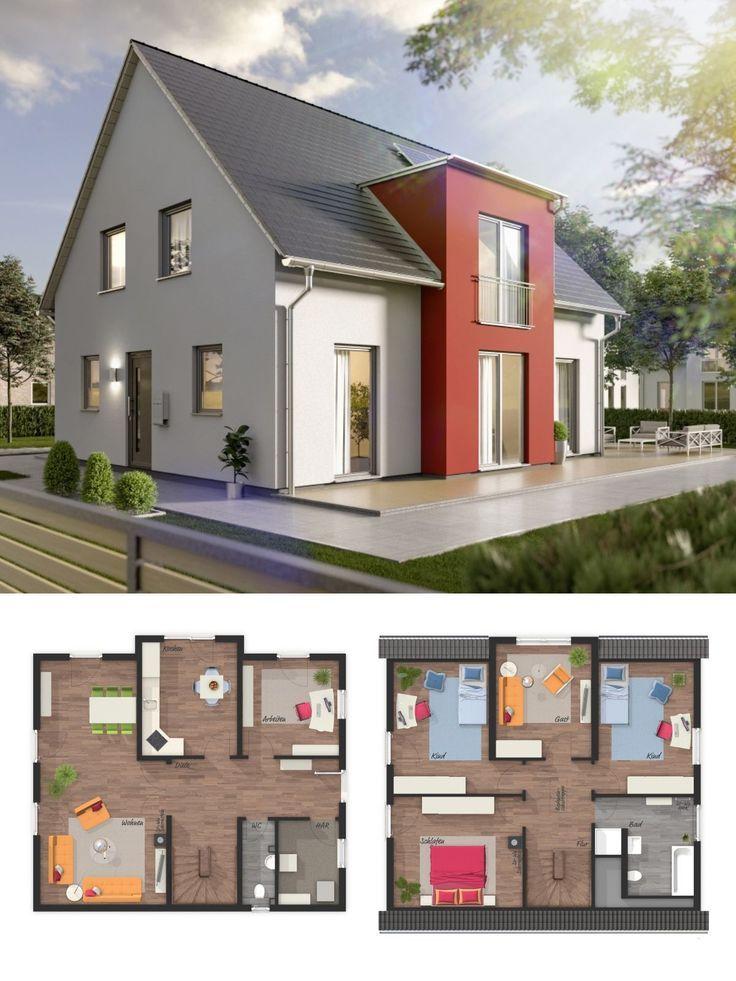 Einfamilienhaus neubau modern grundriss mit satteldach for Massivhaus modern