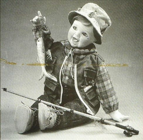 """Ashton-Drake, boy, collectibles, dolls, fish, fishing, fishing gear, fishing rod, for sale, porcelain, #251   COA # 8907A [ $70.00 / $70.00 ] Ashton-Drake """"What a Catch"""" Description: boy dressed in fishing outfit, holding fishing net #collectible #porcelain #dolls @Charity Gives Back"""