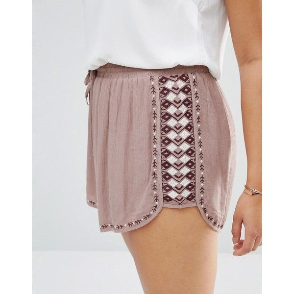 Missguided Plus Printed Shorts (£20) ❤ liked on Polyvore featuring shorts, woven shorts, womens plus size shorts, mid rise shorts, patterned shorts and plus size shorts