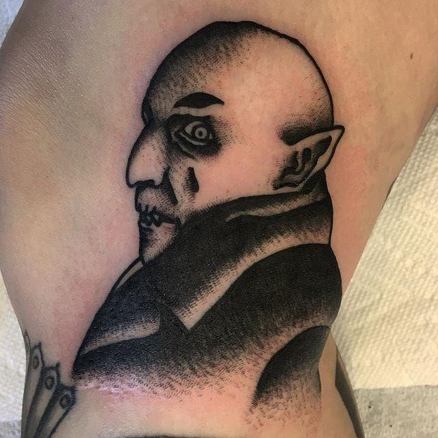 Count Orlok Blackwork Tattoo by Ivan Antonyshev CountOrlok CountOrlokTattoo Nosferatu NosferatuTattoos HorrorTattoos HorrorTattoo Horror IvanAntonyshev blackwork