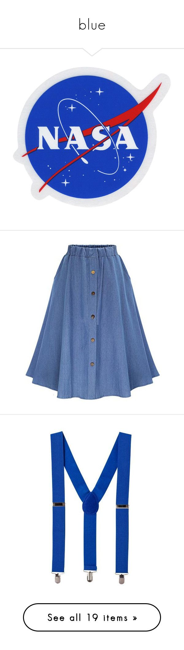 """""""blue"""" by jingerz ❤ liked on Polyvore featuring accessories, skirts, saias, blue, bottoms, denim, long denim skirt, long pleated maxi skirt, long circle skirt and blue pleated skirt"""