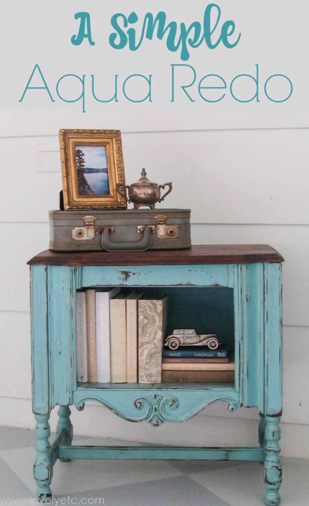 DIY Furniture Refinishing Tips - Simple Aqua Redo - Creative Ways to Redo Furniture With Paint and DIY Project Techniques - Awesome Dressers, Kitchen Cabinets, Tables and Beds - Rustic and Distressed Looks Made Easy With Step by Step Tutorials - How To Make Creative Home Decor On A Budget http://diyjoy.com/furniture-refinishing-tips