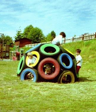 Jungle gym made out of old tires   source: http://buzzard.ups.edu/playdome.html