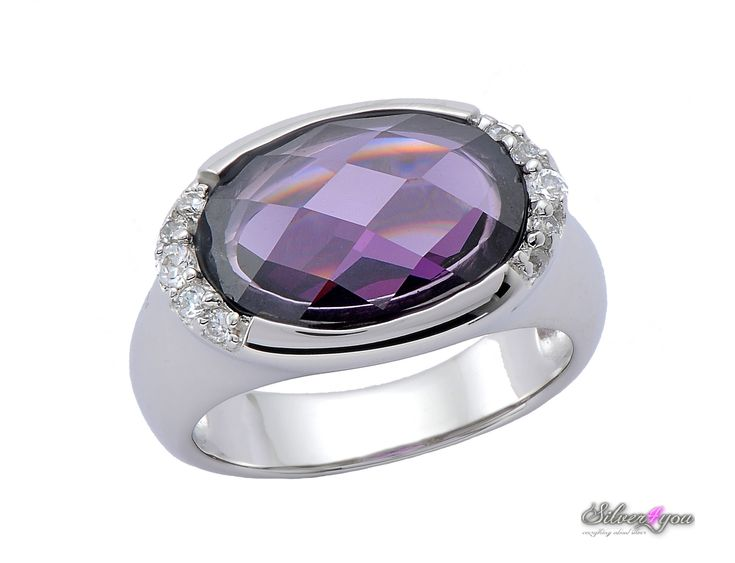 A beautiful silver ring with purple stone