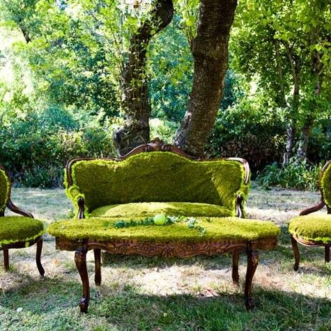 Moss covered vintage furniture vignettes
