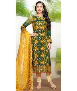 Sassy Green And Multi-Color Pashmina Straight Suit.