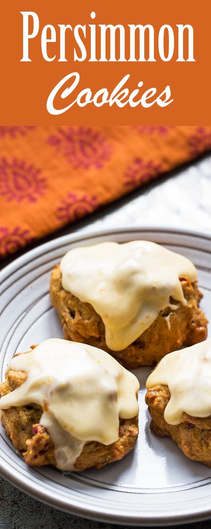 Spicy persimmon cookies recipe made with ripe persimmons and with a persimmon orange sugar glaze.