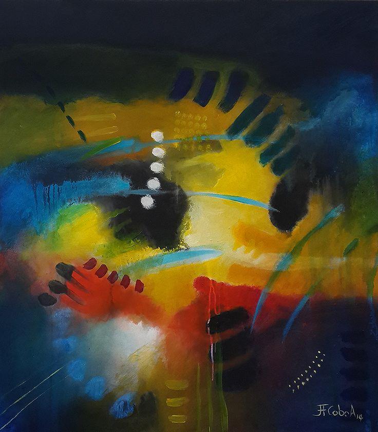 """JUAN FERNANDO COBO A. De la serie """"Bajo la Piel"""" 90 x 80 cm. Acrílicos sobre tabla 2014"""