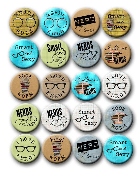 Nerdy Thirty Party Favors 1 inch Pinback Buttons 30th  Birthday Party Nerd party