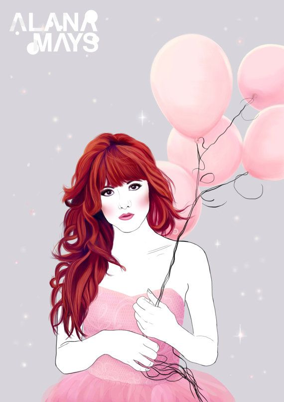 Pretty in pink digital painting printable by AlanaMaysCreations on Etsy, Pretty in Pink,  from $15.00, etsy business, fashion illustration, red head, hair braid, watercolour, printable wall art, art print, girls gift, home decor, birthday girl,bedroom decor