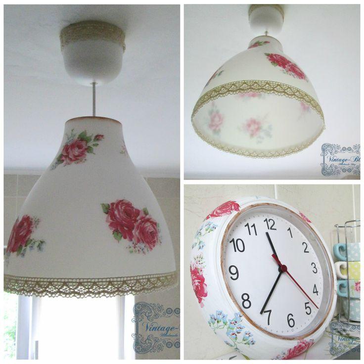 Decoupage clock and lamp. https://www.facebook.com/AnaVintageBlue