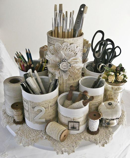 Beautiful craft caddy created from recycled tin cans!