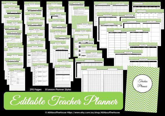 PURPLE EDITABLE Teacher Planner  Printable School Homeschool Lesson Planner Class Organization 2015 2016 Teaching Homework Calendar Diary
