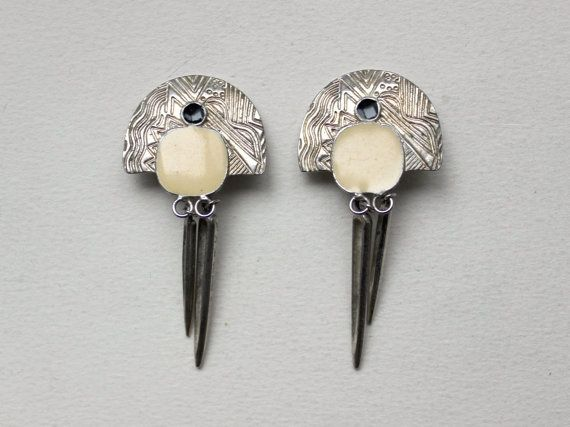 1980s Art deco revival long pendant earrings bone and by Oselavy