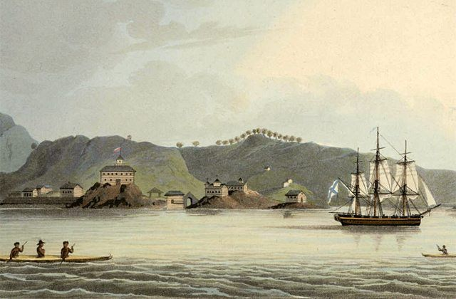 Russian sloop-of-war Neva visits Harbour of St Paul, Kodiak, Alaska; Drawn by Capt Lisiansky and published in March, 1814