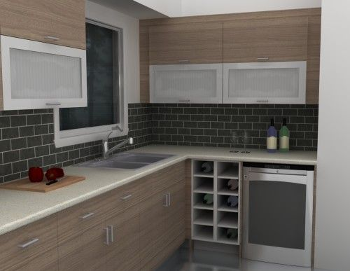IKEA wet bar - Sofielund doors. Our minimalist home bar blends seamlessly with the rest of the kitchen.