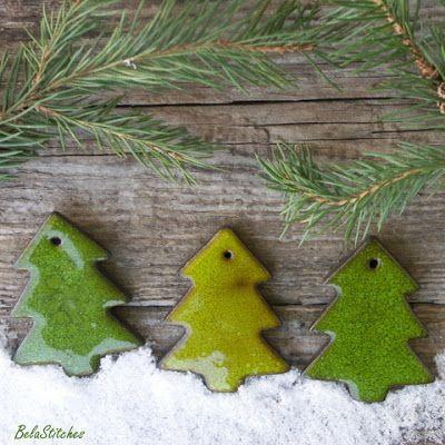Bela Stitches: ceramic Christmas Tree ornaments