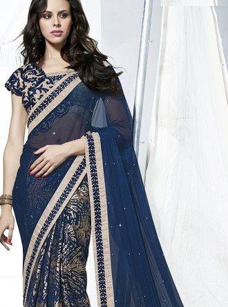 plain navy blue sarees - Google Search