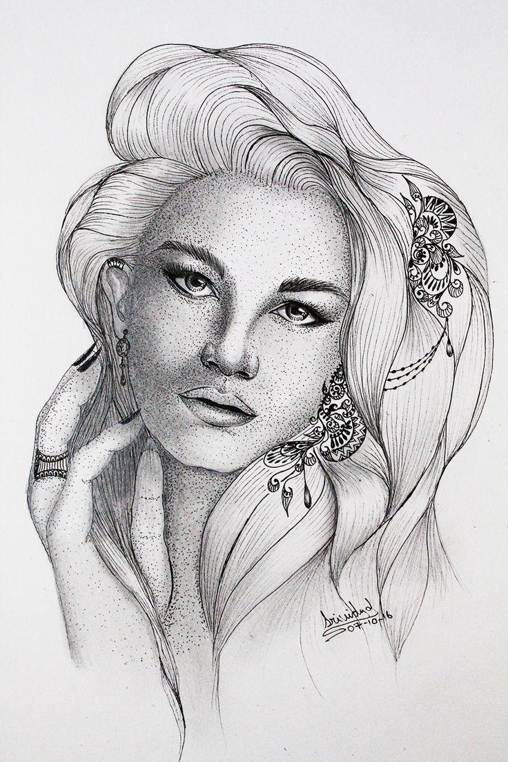 Aria #dottedwork #inkart #ink #beauty #lineart #art #dots #woman #drawing #sketch