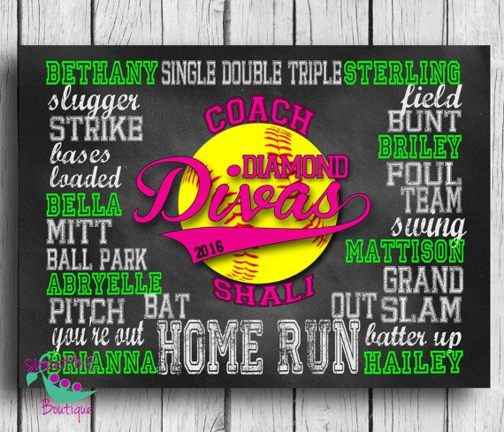 Customized SOFTBALL coach gift digital image by sweetMEboutique