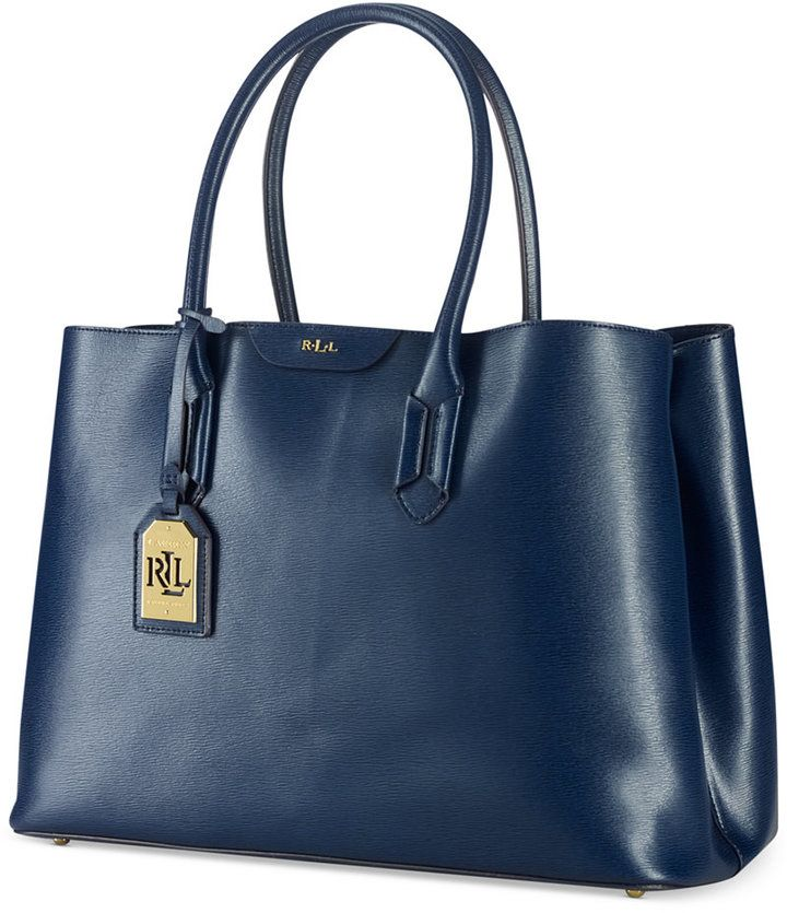 $268, Navy Leather Tote Bag: Lauren Ralph Lauren Tate City Tote. Sold by Macy's. Click for more info: http://lookastic.com/women/shop_items/155401/redirect