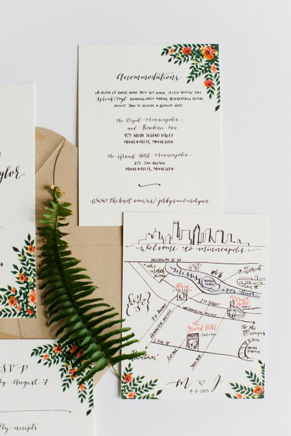 Modern floral invitation suite: http://www.stylemepretty.com/minnesota-weddings/minneapolis/2016/05/26/this-couple-planned-the-ultimate-indoor-garden-party/ | Photography: Melissa Oholendt - http://melissaoholendt.com/