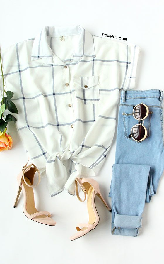 White Grid Knot Front Roll Sleeve Blouse