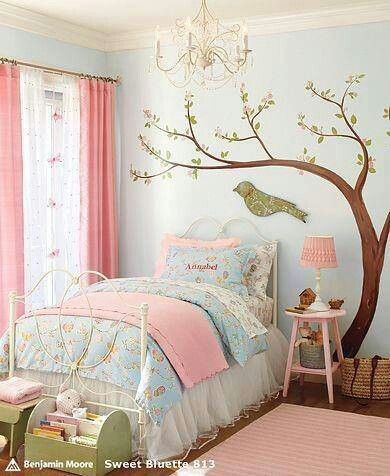 Idea- Blue wall with reds and white in girl's bedroom.  I like the curtains in red or possibly coral.