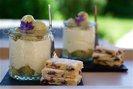 Gooseberry Fool with Garibaldi Biscuits (from The British Larder site)