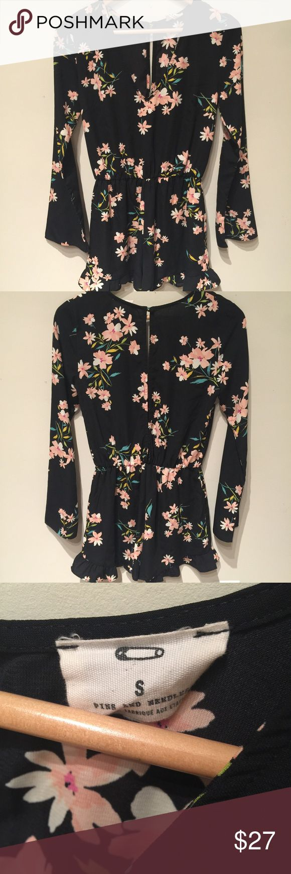 Pins and Needles floral jumper Urban Outfitters  Pins and Needles long sleeve floral jumper  Great condition  Super cute!  Size S  Key hole back with button Urban Outfitters Dresses Mini