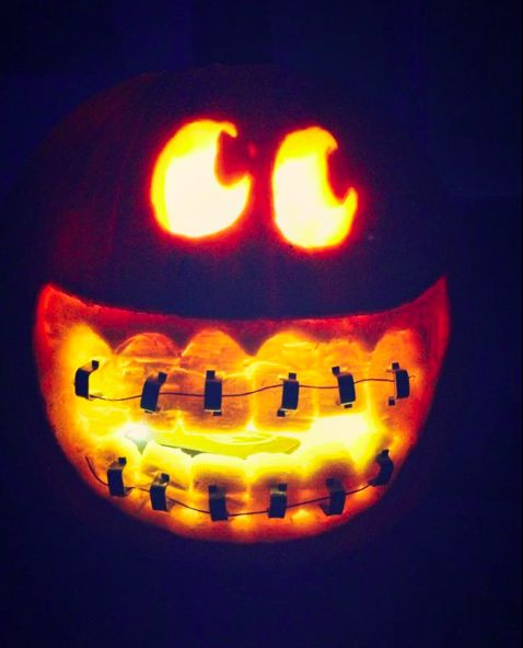 Cute, smiley and funny pumpkin with braces. No stencil needed, just a couple of dental tools and some imagination :)