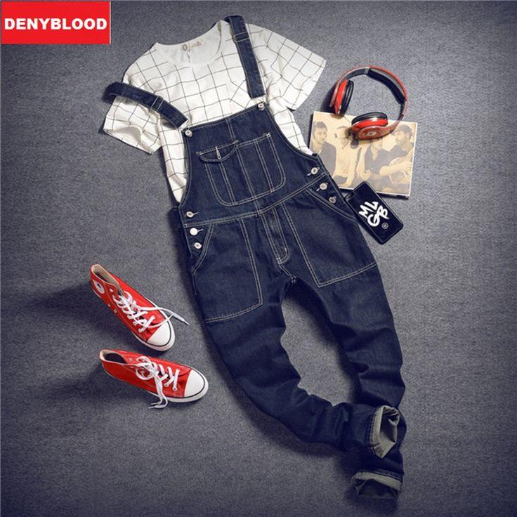 (34.98$)  Watch more here  - Mens Slim Straight Pants Darked Wash Jeans Denim Jumpsuit Overalls Male Baggy Cargo Pants Suspenders Casual Pants Bibs  261
