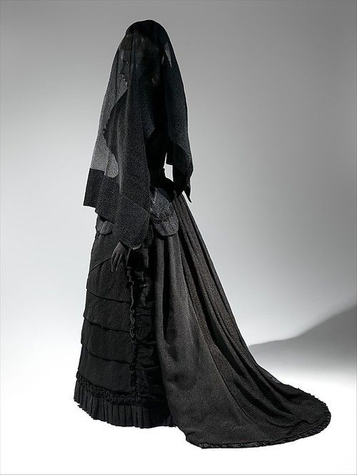 Mourning Ensemble | c. 1870s...UGH! Can you imagine wearing this for the amount of time that was required?!