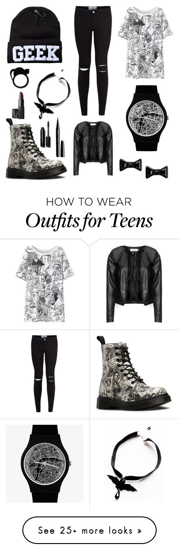 """""""Geek"""" by stuck-in-azkaban on Polyvore featuring Dr. Martens, Marc by Marc Jacobs, May28th, Zizzi, Bobbi Brown Cosmetics, Marc Jacobs and NARS Cosmetics"""