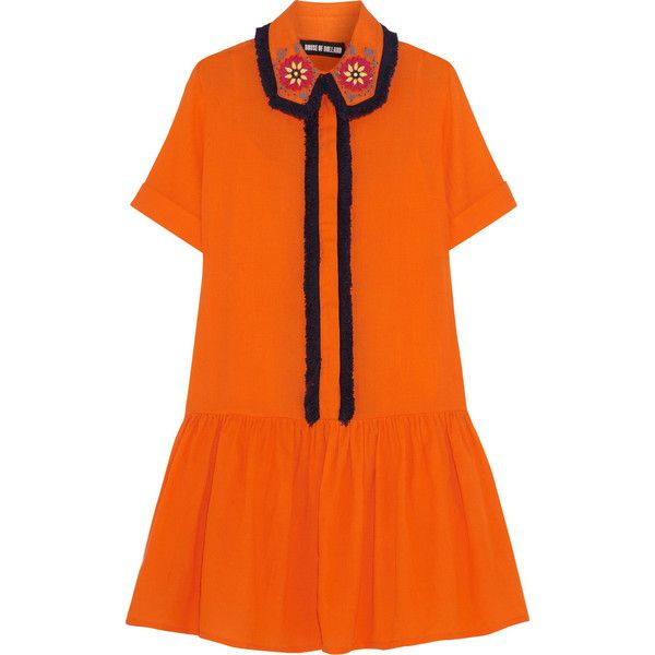 House of Holland Embellished cotton mini dress (14,585 THB) ❤ liked on Polyvore featuring dresses, house of holland, orange, embroidered dress, short dresses, long shirt dress, fringe dress and drop waist beaded dress