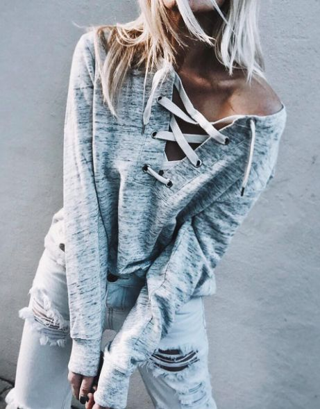 lace up sweater + one teaspoon jeans
