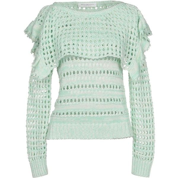 Philosophy Di Lorenzo Serafini Jumper ($270) ❤ liked on Polyvore featuring tops, sweaters, light green, long sleeve tops, cotton sweaters, cotton jumper, long sleeve jumper and lightweight sweaters